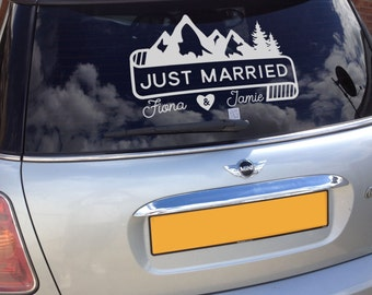 Mountain and Banner Just Married Getaway Car Decal