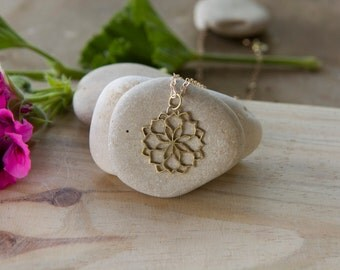Gold plated 14K - Mandala Lotus Flower Pendant, Yoga Necklace, Energy Necklace, Sacred Geometry, Charm and delicate