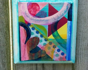Patchwork 2........Small abstract painting on a vintage board. Free shipping in the United States. 5.5''X 9.5''