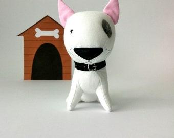 American bull Terrier, whiter  bull Terrier, plush bull Terrier, stuffed bull Terrier, stuffed dog, stuffed animal, fighting dog