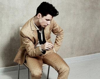 Men's slim summer pants with polka dot print
