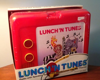 Rare 1986 Lunch 'N Tunes, the original lunchbox radio with thermos and headphones - new, sealed in box!