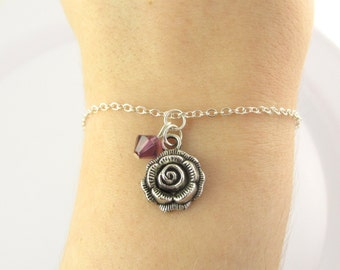Rose Bracelet- choose a birthstone, Rose Birthstone, Flower Bracelet, Rose Jewelry, Flower Jewelry, Rose Charm Bracelet, Rose Gift