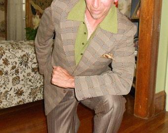 Men's Vintage Sport Coat 1970's Polyester Double Knit Multi Colored Check Plaid Combination