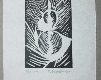 Untitled, 2014  linocut, Print size: 10x15 cm