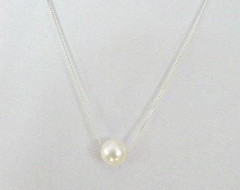 Single pearl necklace, Freshwater pearl necklace, 10mm floating pearl necklace, Special Occasion, Bridal necklace, Prom necklace, UK seller