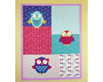 Owl Baby Quilt Fabric Panel, Woodland Walk FX13 Fabric Freedom, Owl Fabric, Nursery Fabric, Owl Fabric Panel, Baby Boy Fabric, Cotton