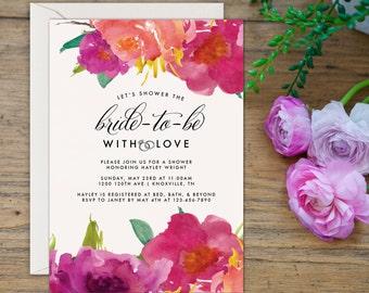 SALE Rustic Bridal Shower Invitation, Printable Bridal Shower Invite, 5x7 Invite, Floral Bridal Shower Invitations, Fuchsia Bridal Shower