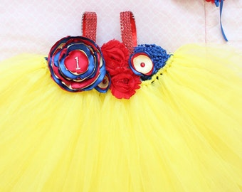 Beautiful Snow White Couture Tutu Dress Costume for Baby Girl 6-18 Months First Halloween