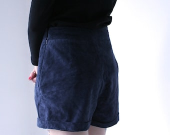Vintage Navy Blue High Waisted Pleated Suede Shorts