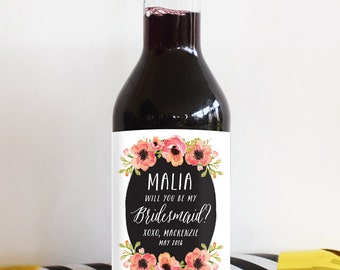 Will You Be My  Bridesmaid Mini Wine Labels - Weatherproof Wine Labels - Perfect for a Bridesmaid Box or your Maid of Honor Proposal