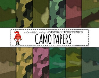 "Digital paper: ""CAMOUFLAGE LINEN"" with camo backgrounds and linen texture for card making, scrapbooking, etc (1197)"