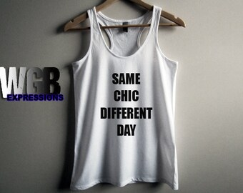Same chic different day womans tank top white