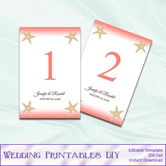 Coral beach wedding table number template diy starfish for Table coral sample