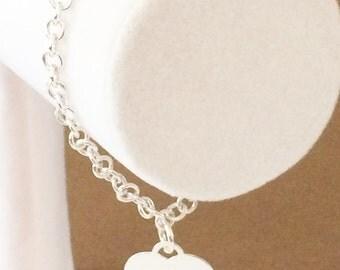 """Sterling Silver Rolo Heart Charm Bracelet 7 1/4"""""""
