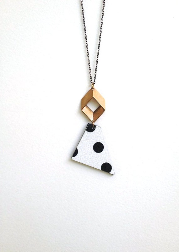 Minimalist Necklace - Geometric Necklace - Polka Dot - Black and White - Triangle - Statement - Leather Necklace - Brass and Leather - OOAK