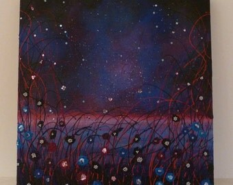 Original Mixed Media Canvas 'Midnight Magic' 60x60cm, by Sarah Wake