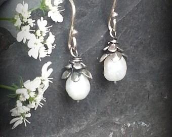 White Pearl and Silver Earrings, Floral Earrings, Silver Pearl Rosebud Earrings, Sterling Capped Pearl Earrings, Pearl Dangle Earrings, June