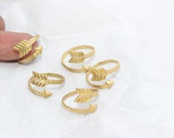 3 Pcs Raw Brass Arrow Rings, 17-18mm Adjustable Ring, Brass Adjustable Ring , LA31