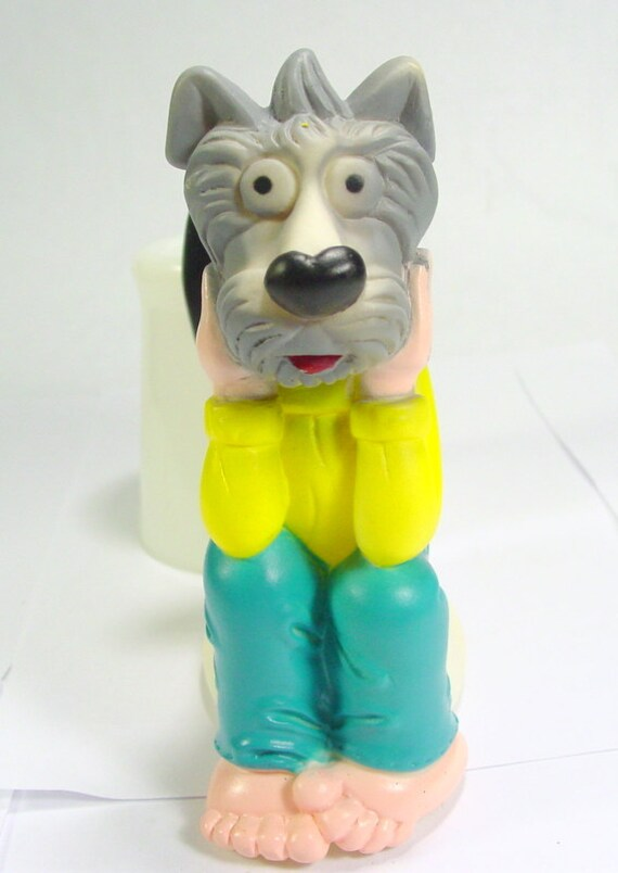 Dog Toy Vinyl Squeak Toy Dog Sitting On Toilet Potty Bathroom