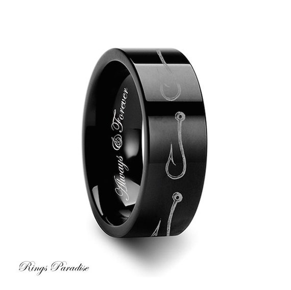 Tungsten fishing hook pattern ring 4mm 12mm personalized for Fish hook wedding band