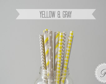 YELLOW & GRAY Paper Straws // Stars - Harlequin - Chevron - Solid - Stripe // 5 Designs // Baby Shower // Wedding // Party