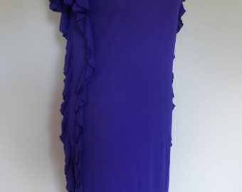 Vintage dress 80s 90s Roots of London Purple Body con dress with frills size medium