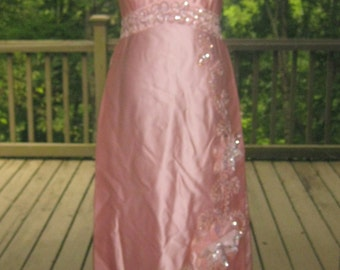 SALE: 60s Formal Dress, Vintage Pink Mike Benet Full Length Sleeveless Formal Gown with Iridescent Sequined Applique Flowers Size 16