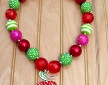 Green Pink and Red Chunky Bubblegum Bead Necklace w/ Apple Rhinestone Pendant and Crown Toggle. READY TO SHIP