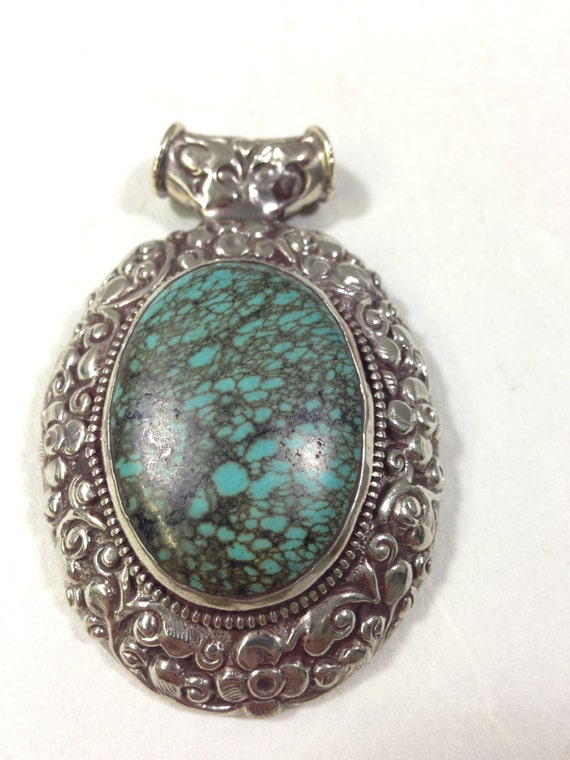 Pendant Tibetan Oval Turquoise Ornate Embellished Silver Handmade Pendant Necklace Jewelry Unique Turquoise Statement
