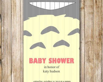 Baby Shower Invitation, New Baby Invite, Totoro In the Fields, Totoro Baby Shower Invite, Printable Digital Invitation