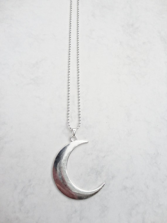 crescent moon necklace chain silver plated by