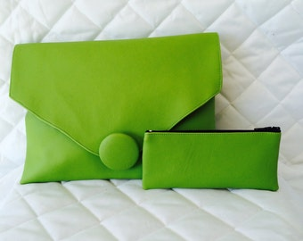 Lime Green Faux Leather Envelope Clutch with Matching Purse