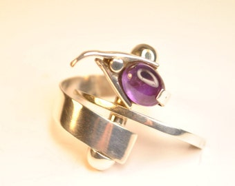 SILVER SNAKE RING-925 Silver ring with Amethyst, dynamic movement
