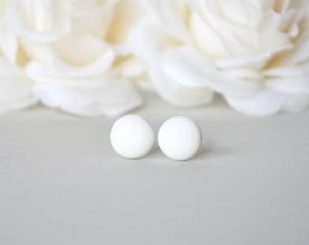 White studs, matte white earrings, small round earrings, matte white studs, disk earrings, white stud earrings, mens earrings, mens studs