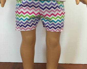 Rainbow Zigzag Shorts. 18 inch doll clothes. Fits American Girl doll