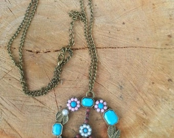 Flowers and Peace Sign Bronze Long Hippie Necklace, Boho Necklace, Hippie Jewelry