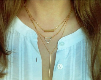 Triangle Necklace / Minimalistic Jewelry / Triangle Choker / Everyday Minimal Jewelry / Geometric Layered Necklace / N111