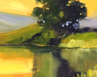 Landscape Oil Painting, Small 8x10, Summer Reflection, Yellow Green Tree, Original River Scene, Wall Decor, Golden Sky, Rural Lake, Pond