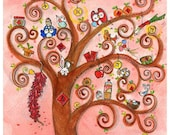 spring II (Print) tree, four seasons, wall art, pink, new year, gift for her
