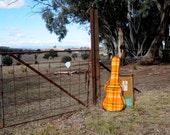Repurposed Blanket Guitar Case in Vibrant Orange Yellow and Brown