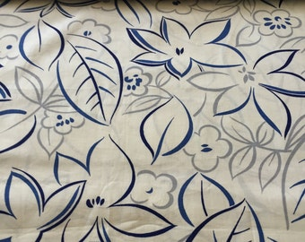 SALE - 1950's Vintage Tropical Hibiscus Print//Cobalt and Midnight Blue w/Silver Leaves// Pima Cotton//Sold by the Yd 4.22 yds available