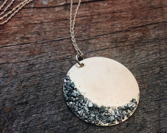 waning crescent moon crushed pyrite necklace