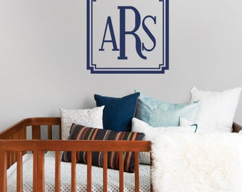 Wall Decal Name Baby Boy Name Lettering Decal - Monogram