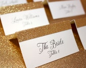 Gold Place Cards / Glitter Place Cards / Wedding Escort Cards / Name Cards / Glam Gold Glitter Placecards