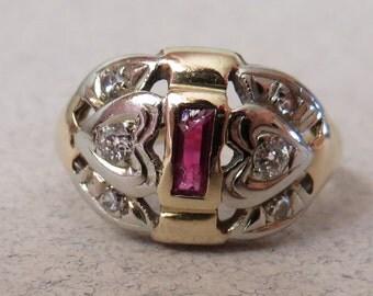 Retro 40's Double Sweet Heart Diamond & Ruby Baguette Ring 14K Multi Gold WWII Era w/ Matching Celluloid Box
