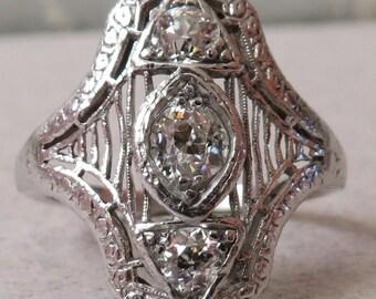 Antique Platinum Old Mine Cut Diamond North South Dinner Ring w/ Celluloid Box .95 carat