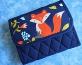Women Wallet - Small Wallet Cute Fox Fabric Wallet Vegan Wallet Trifold Wallet Cloth Wallet Ladies Wallet Quilted Wallet Compact Velcro