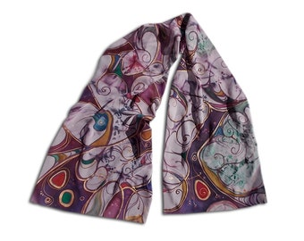 Abstract painted scarf, multicolored, butterfly motives, abstract pattern, long chiffon scarf, purple, copper, silk painting, vitrail motiff