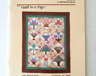Quilt In A Day Quilt Pattern, Quilt Block Party Series 2, Eleanor Burns, Flower & Basket Sampler, 65 x 82, Quilt Pattern Book, 1989
